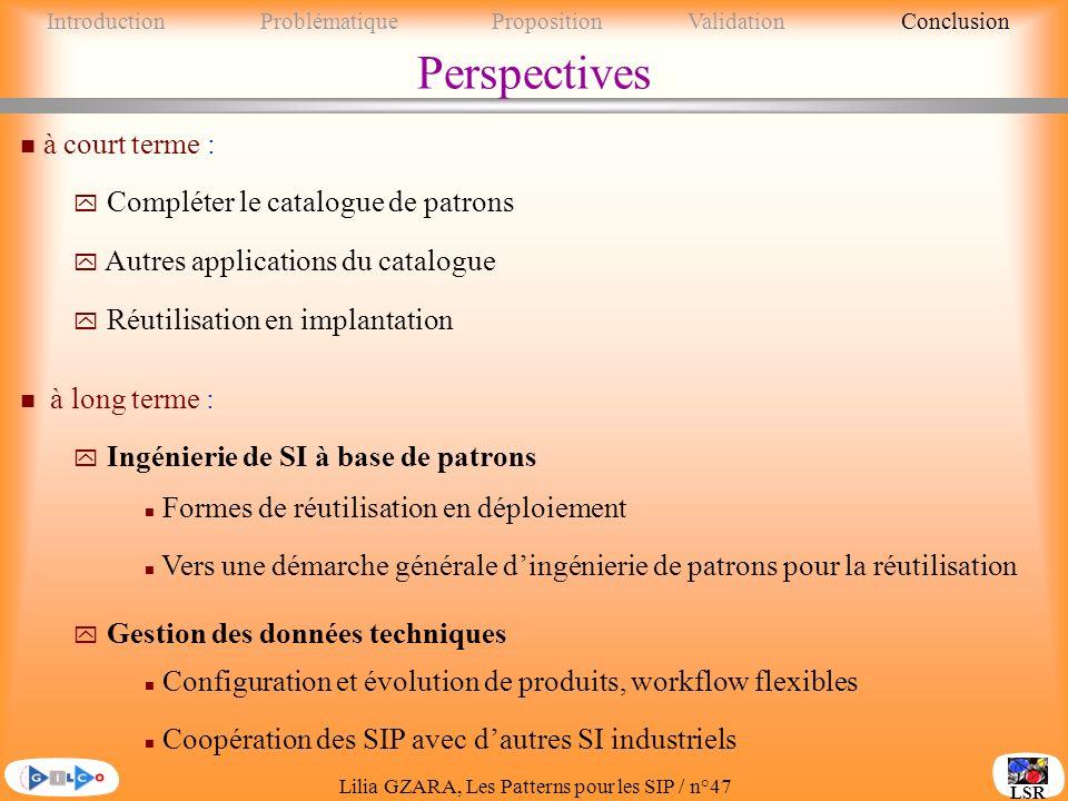 Perspectives à court terme : Compléter le catalogue de patrons
