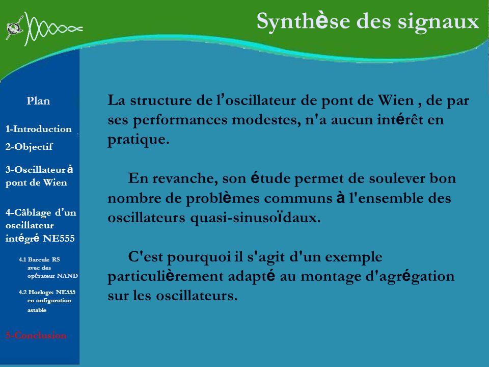 Synthèse des signaux La structure de l'oscillateur de pont de Wien , de par ses performances modestes, n a aucun intérêt en pratique.