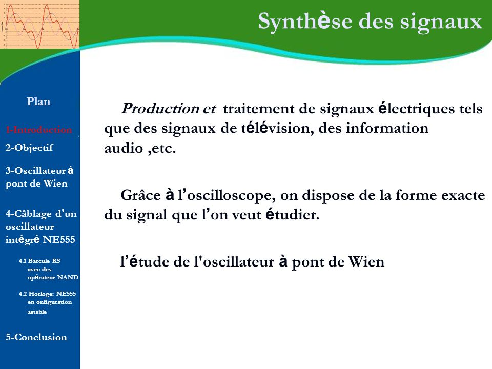 Synthèse des signaux Plan. Production et traitement de signaux électriques tels que des signaux de télévision, des information audio ,etc.