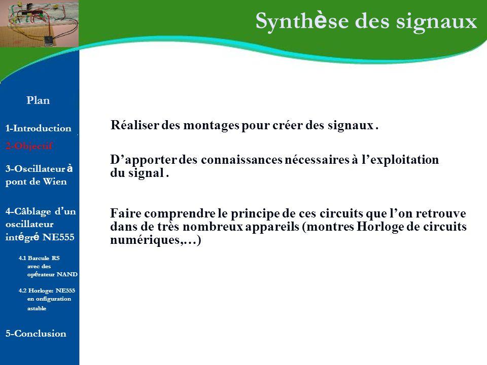 Synthèse des signaux Réaliser des montages pour créer des signaux .