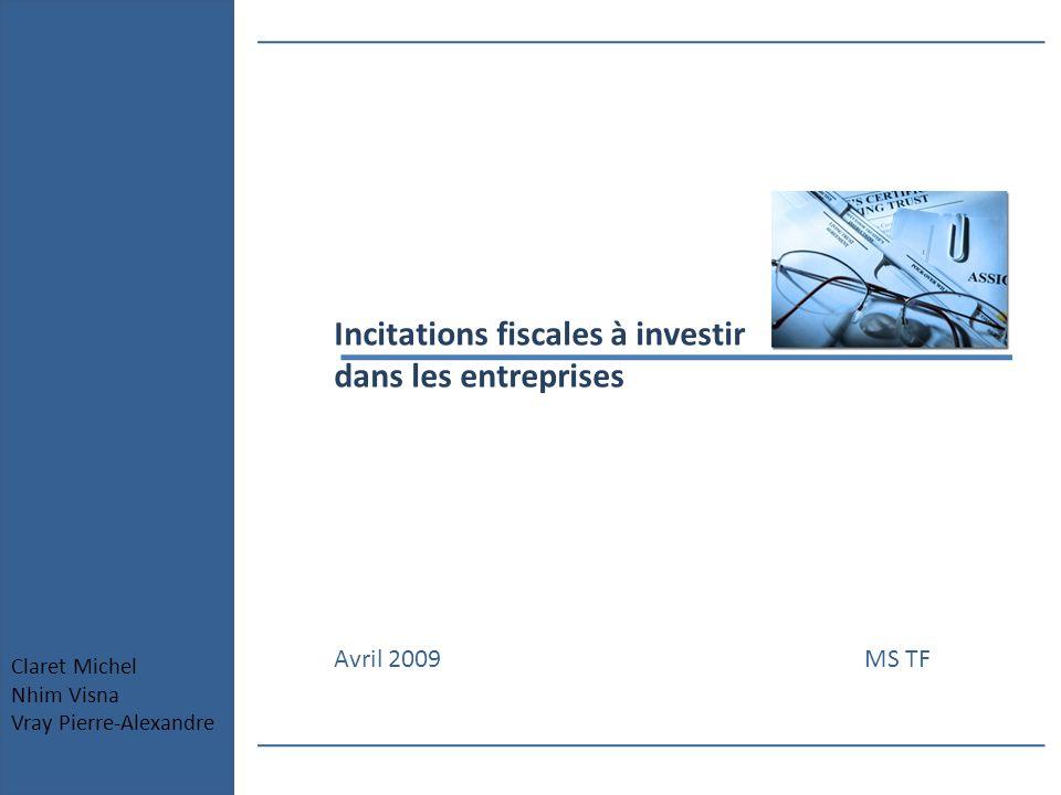 Incitations fiscales à investir dans les entreprises