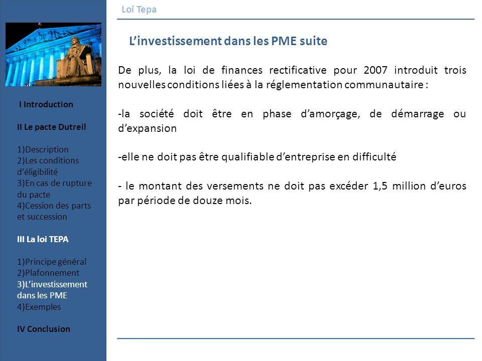 L'investissement dans les PME suite