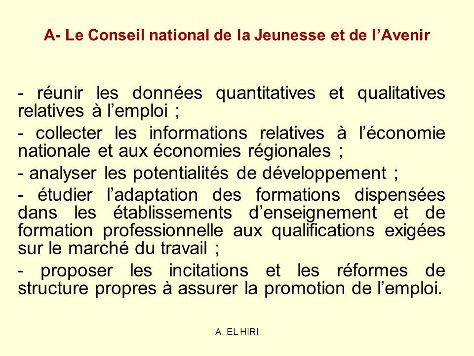 A- Le Conseil national de la Jeunesse et de l'Avenir