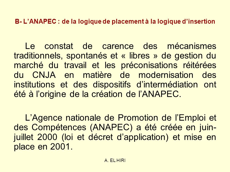 B- L'ANAPEC : de la logique de placement à la logique d'insertion