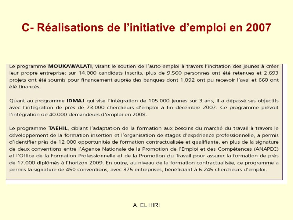 C- Réalisations de l'initiative d'emploi en 2007