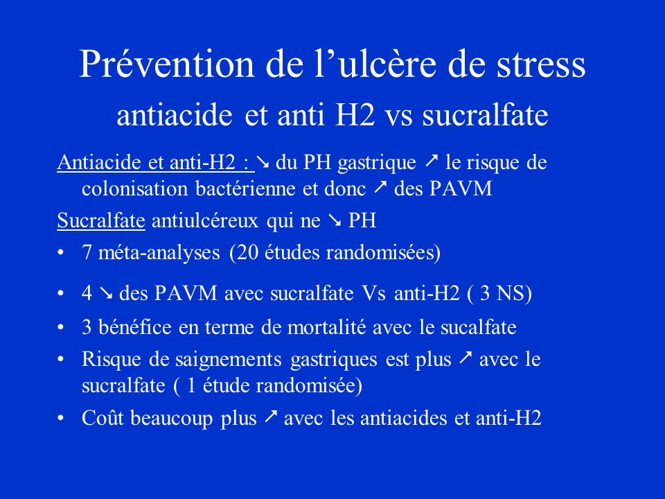 Prévention de l'ulcère de stress antiacide et anti H2 vs sucralfate