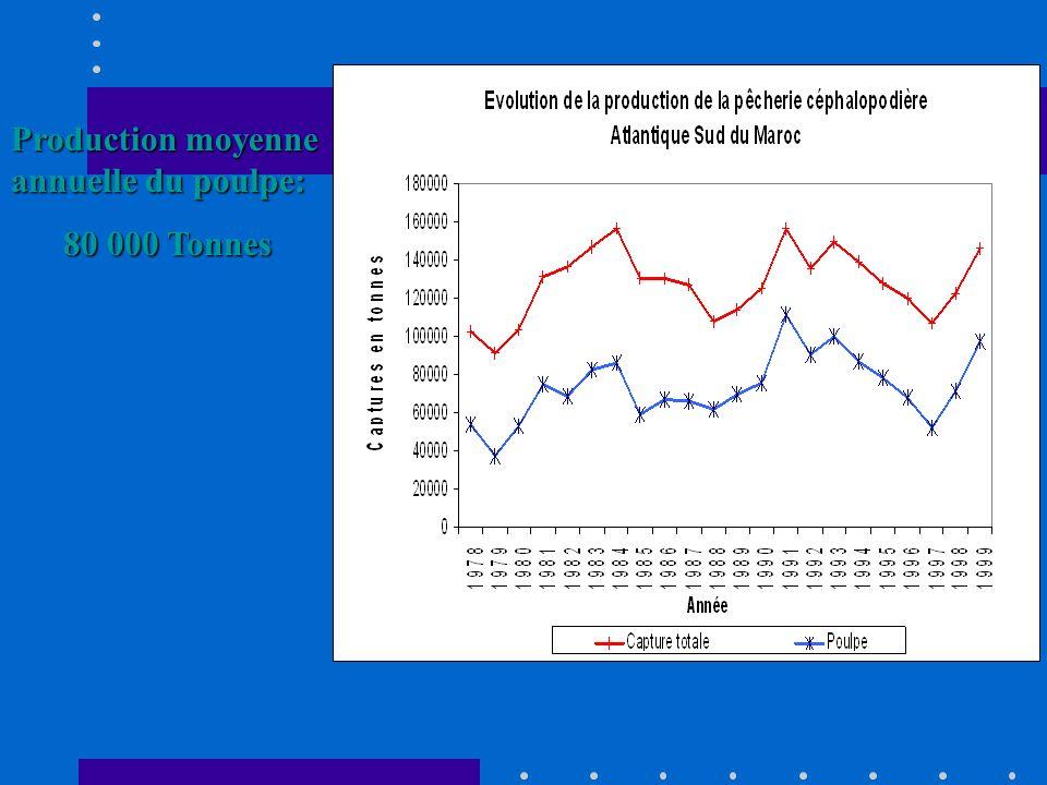 Production moyenne annuelle du poulpe:
