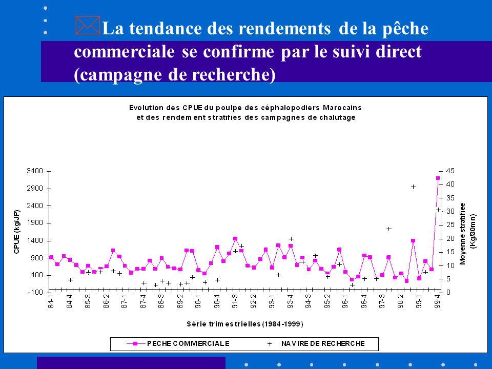 La tendance des rendements de la pêche commerciale se confirme par le suivi direct (campagne de recherche)