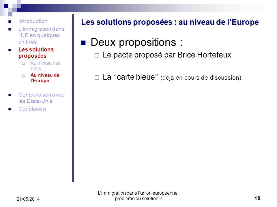 Les solutions proposées : au niveau de l'Europe