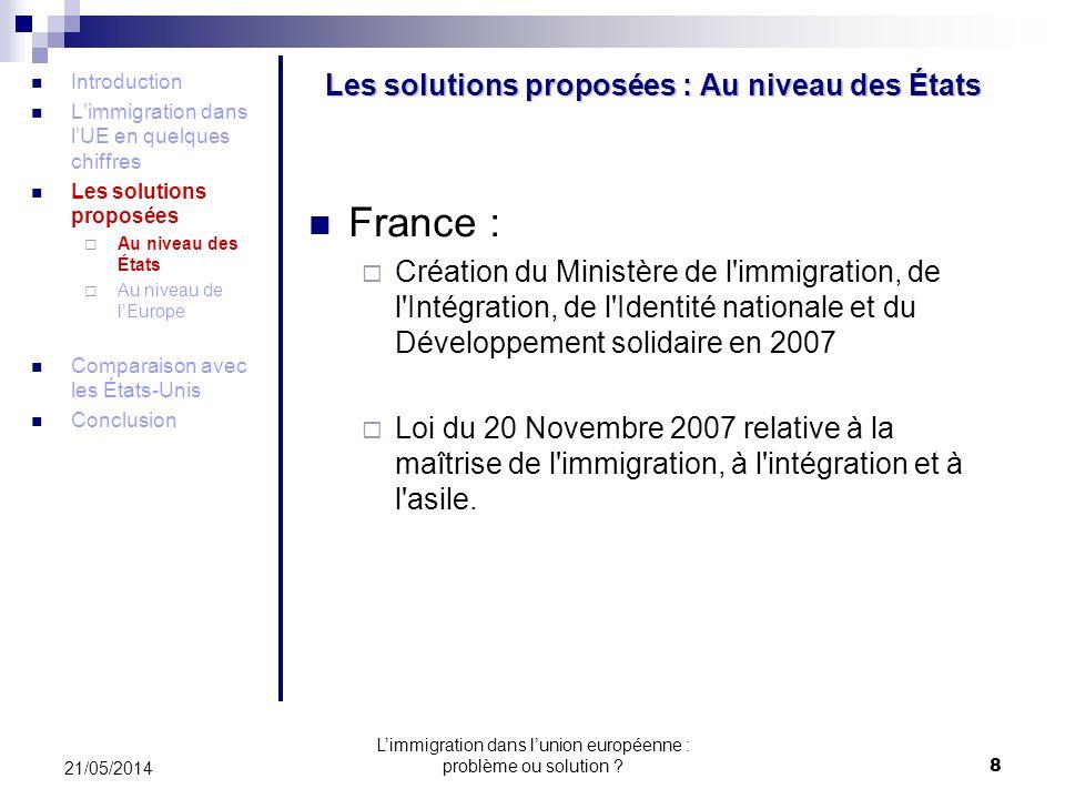 Les solutions proposées : Au niveau des États