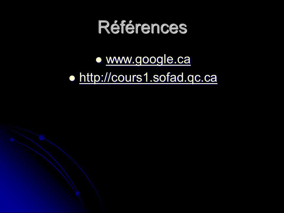 Références www.google.ca http://cours1.sofad.qc.ca
