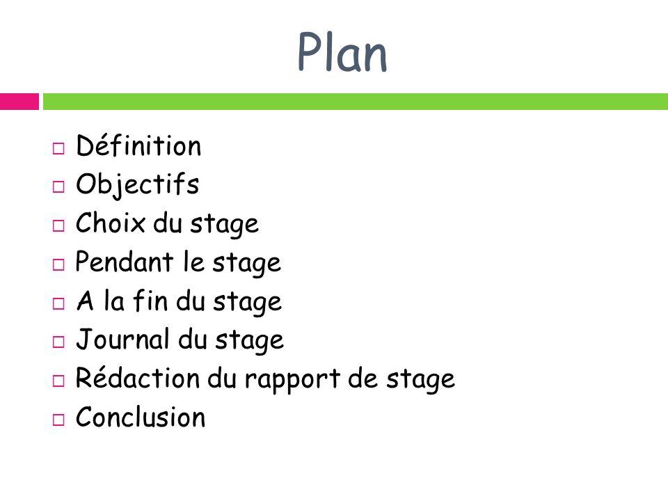 Plan Définition Objectifs Choix du stage Pendant le stage