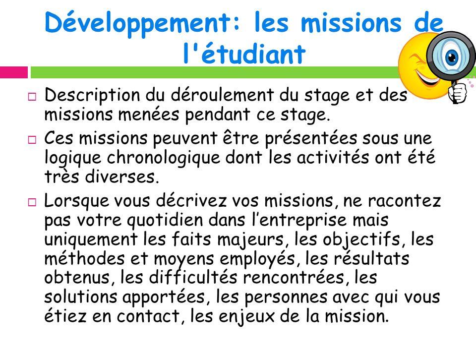 Développement: les missions de l étudiant