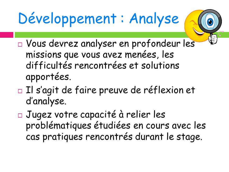 Développement : Analyse
