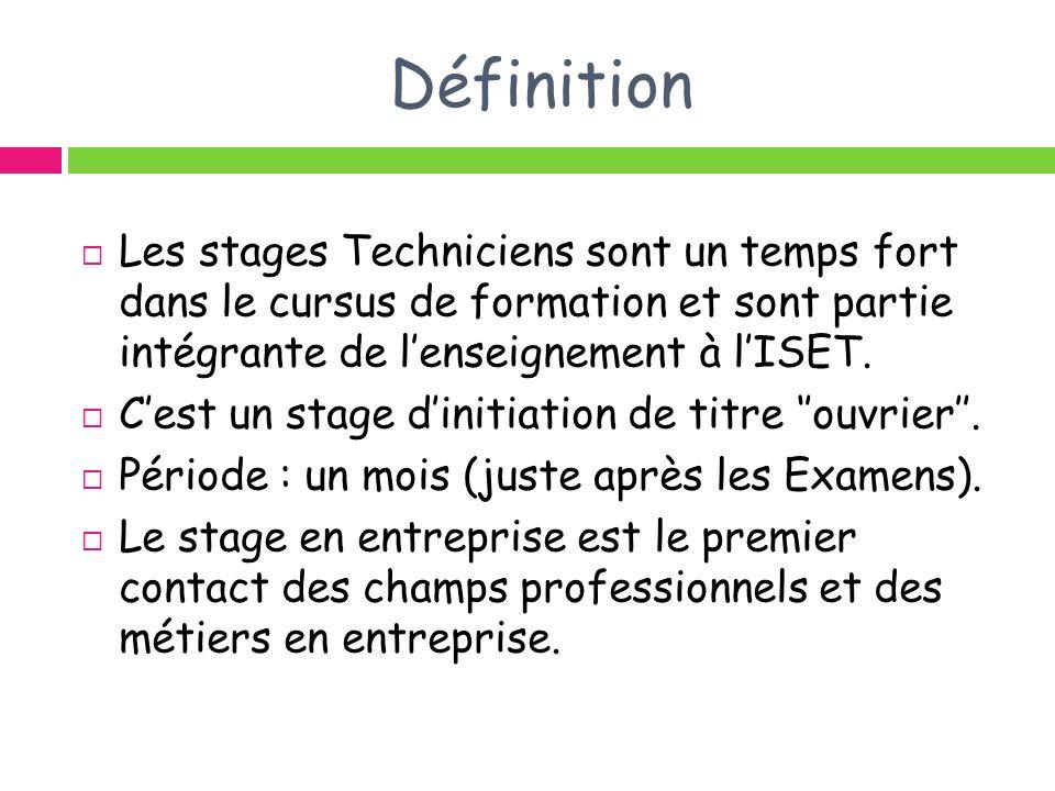 Définition Les stages Techniciens sont un temps fort dans le cursus de formation et sont partie intégrante de l'enseignement à l'ISET.