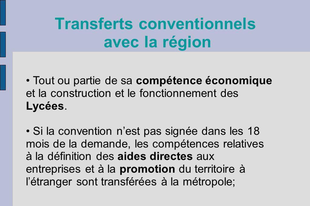 Transferts conventionnels avec la région