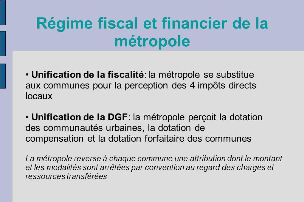Régime fiscal et financier de la métropole