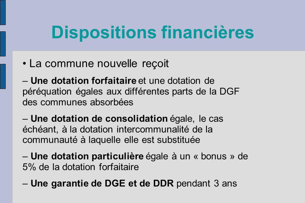 Dispositions financières