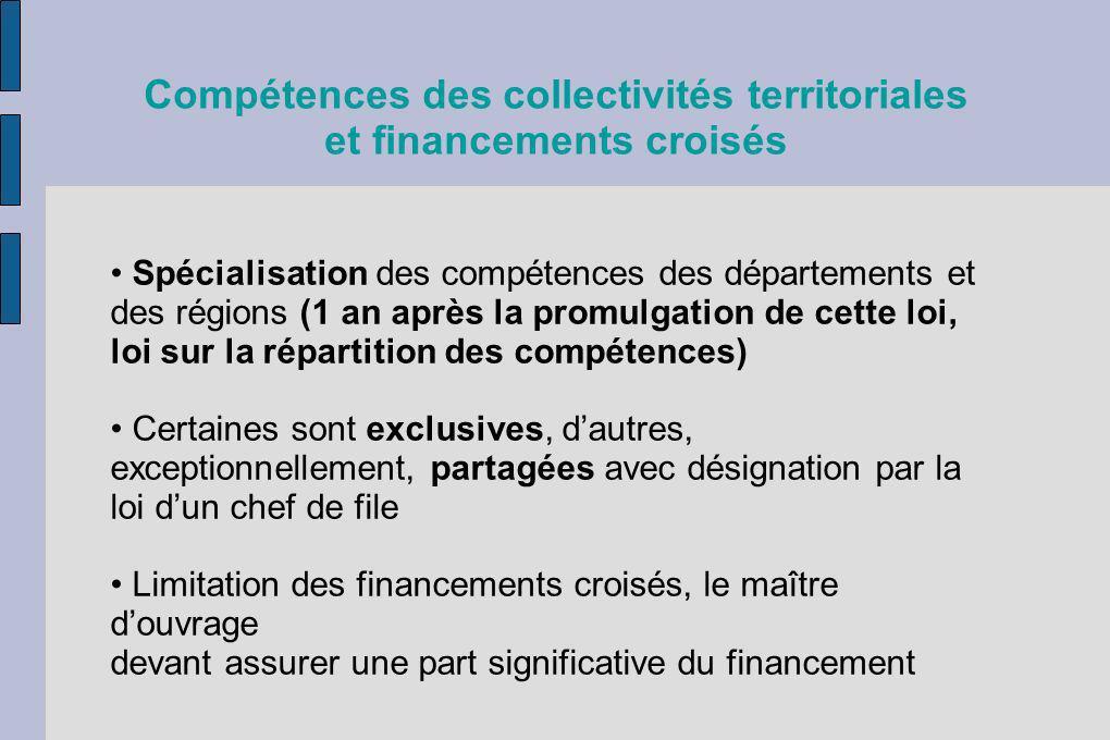 Compétences des collectivités territoriales et financements croisés