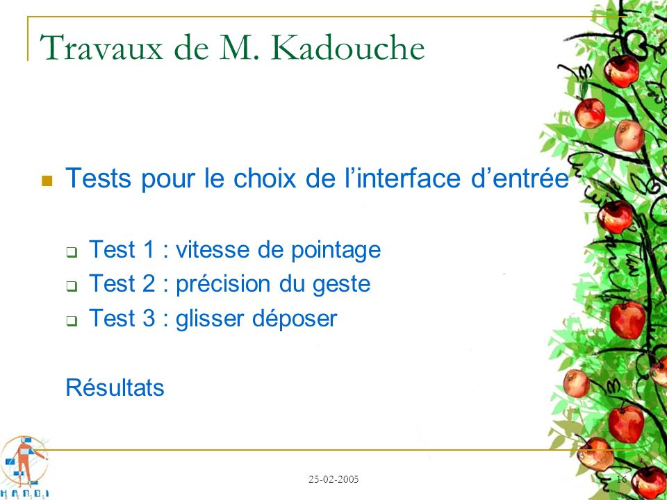 Travaux de M. Kadouche Tests pour le choix de l'interface d'entrée