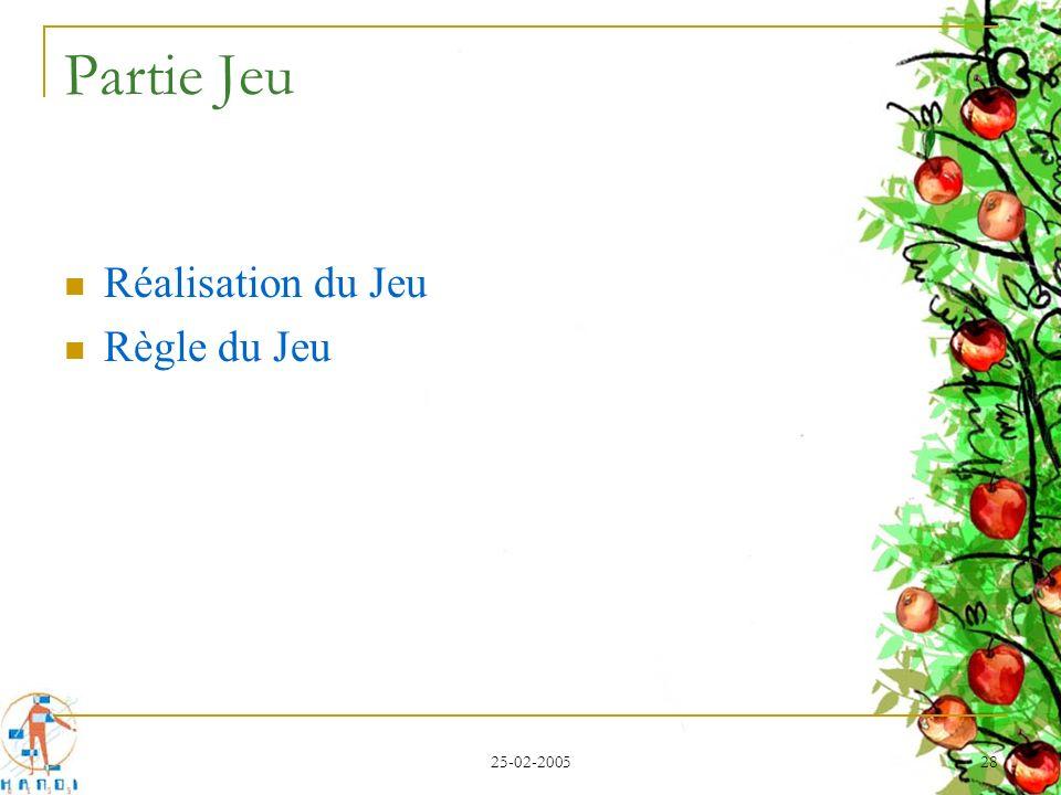Partie Jeu Réalisation du Jeu Règle du Jeu 25-02-2005