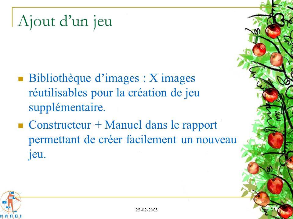 Ajout d'un jeu Bibliothèque d'images : X images réutilisables pour la création de jeu supplémentaire.