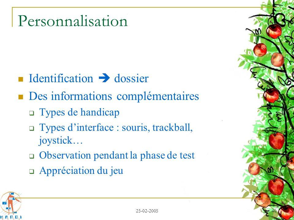 Personnalisation Identification  dossier