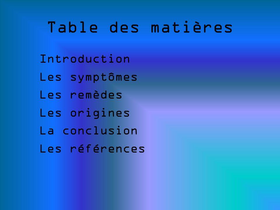 Table des matières Introduction Les symptômes Les remèdes Les origines