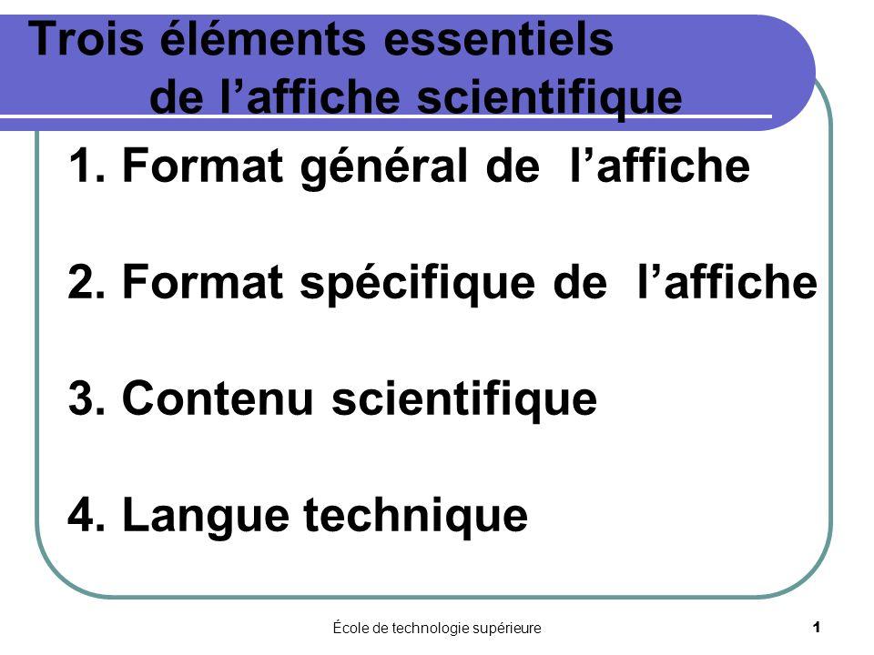 Trois éléments essentiels de l'affiche scientifique