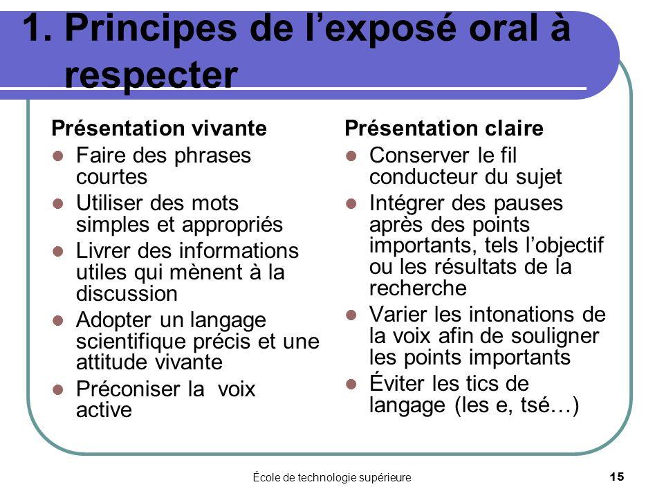 1. Principes de l'exposé oral à respecter