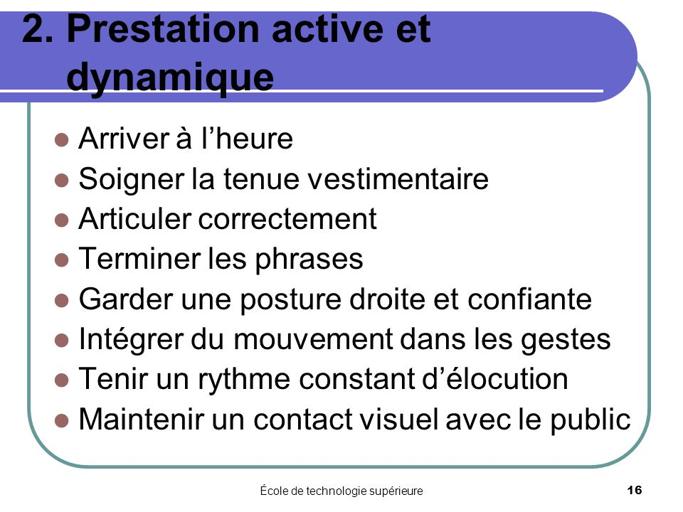 2. Prestation active et dynamique