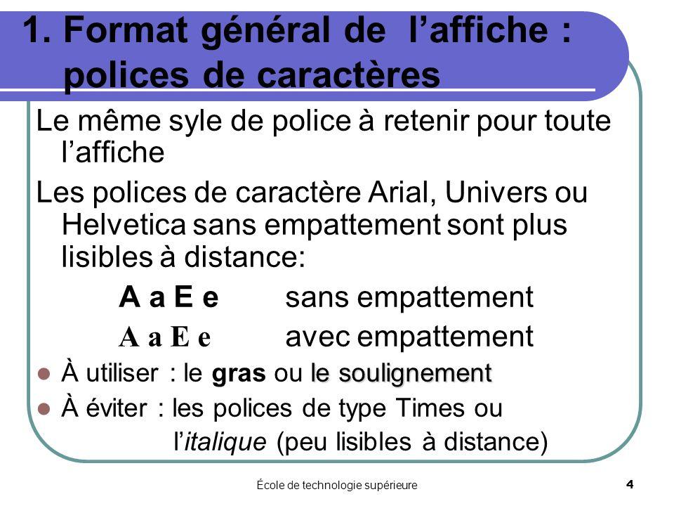 1. Format général de l'affiche : polices de caractères