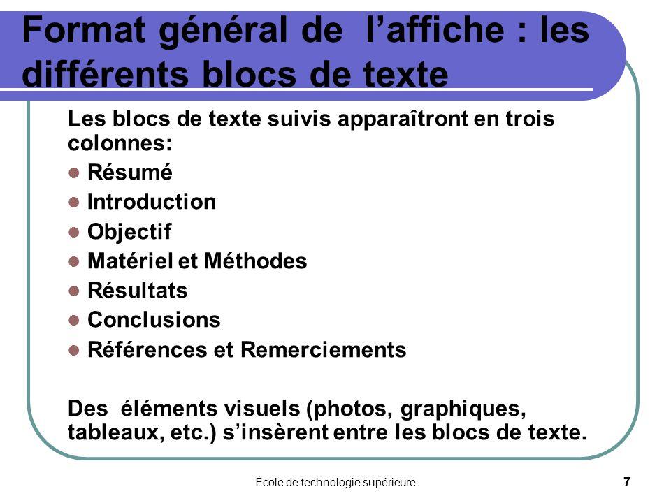 Format général de l'affiche : les différents blocs de texte