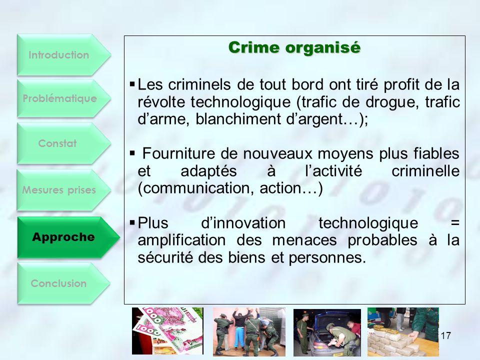 Introduction Constat. Mesures prises. Approche. Conclusion. Problématique. Crime organisé.