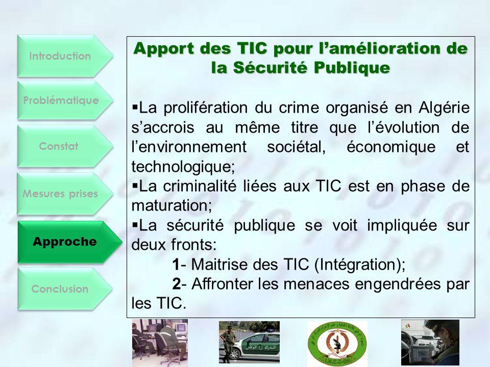Apport des TIC pour l'amélioration de la Sécurité Publique