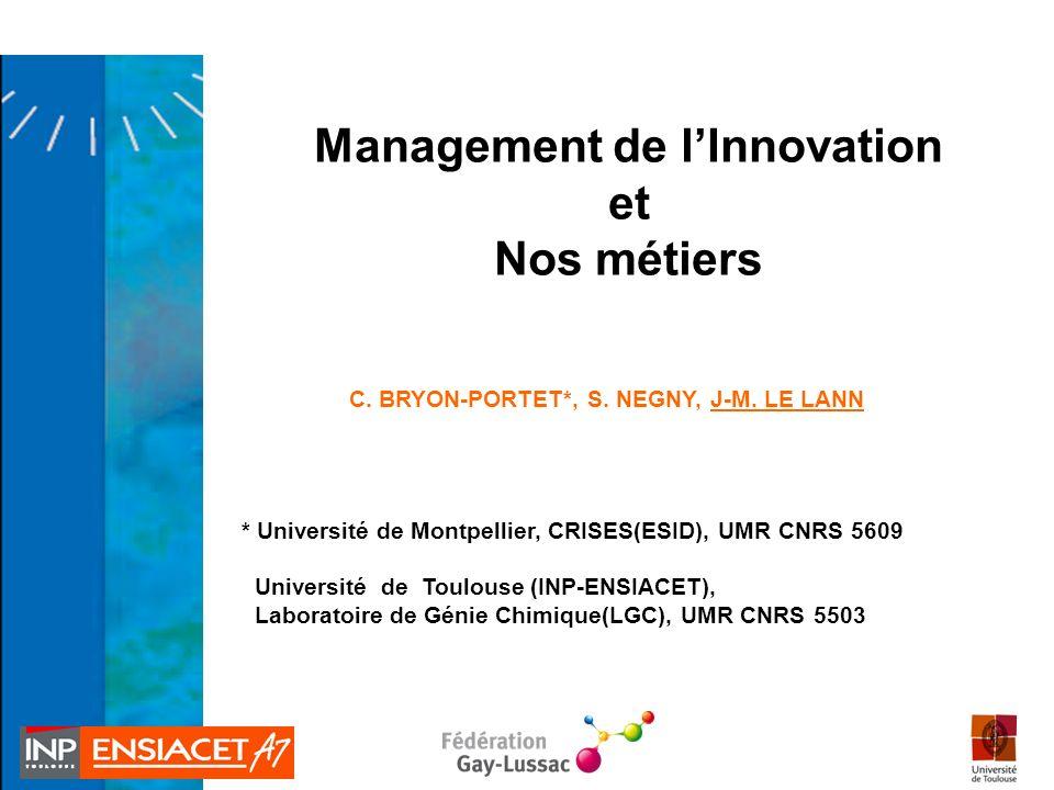 Management de l'Innovation C. BRYON-PORTET*, S. NEGNY, J-M. LE LANN