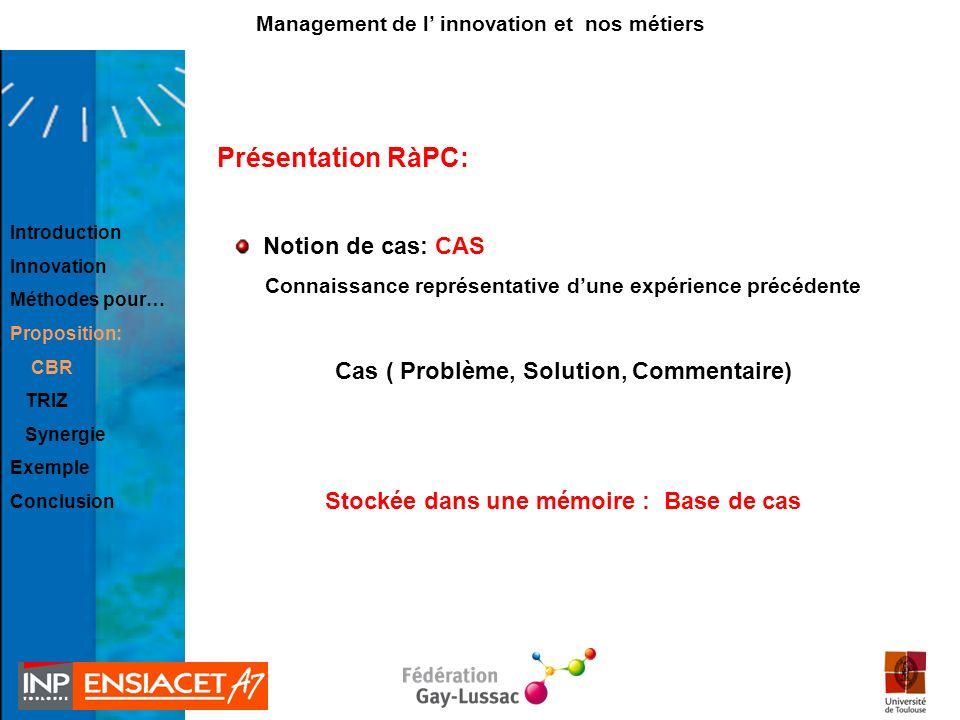 Présentation RàPC: Notion de cas: CAS