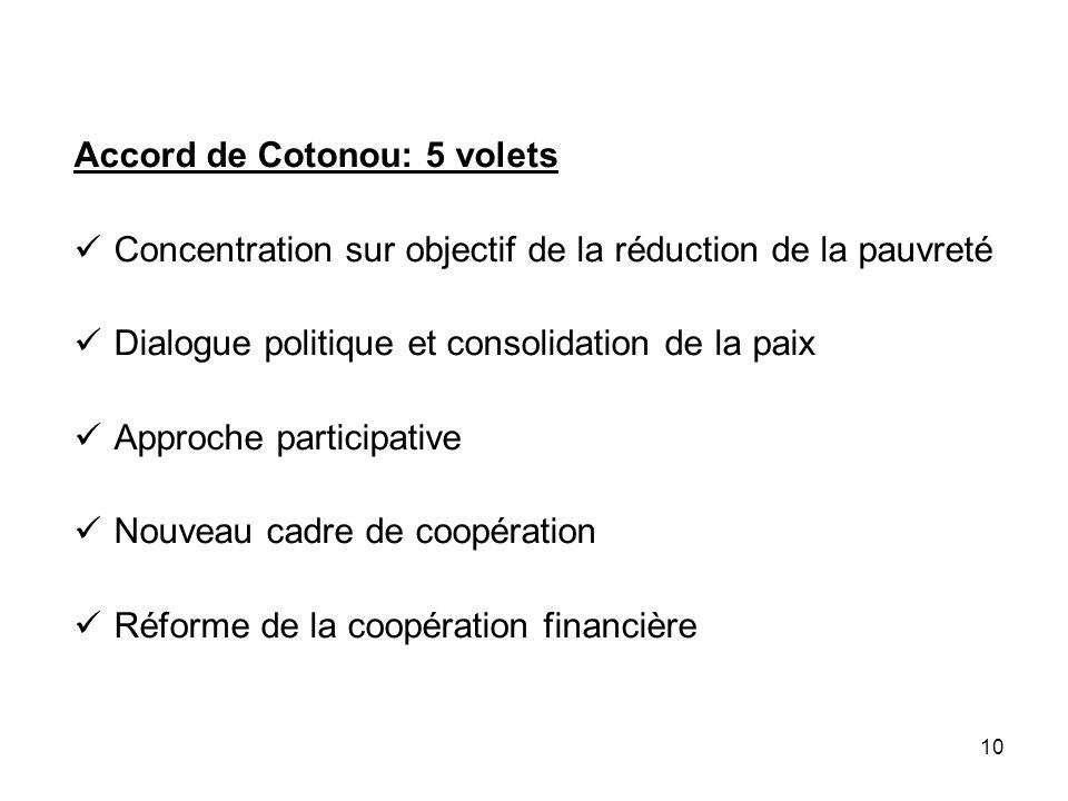 Accord de Cotonou: 5 volets