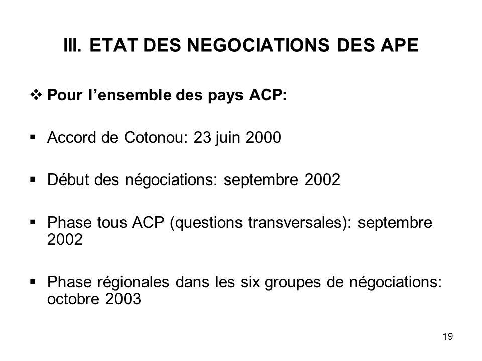 III. ETAT DES NEGOCIATIONS DES APE