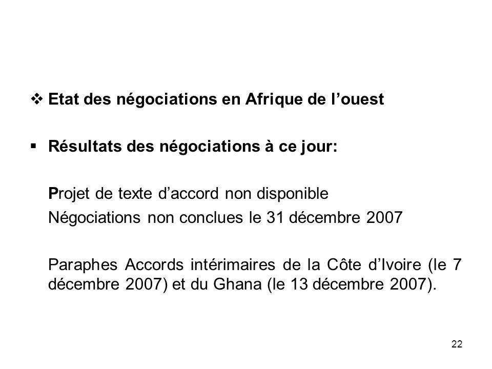 Etat des négociations en Afrique de l'ouest