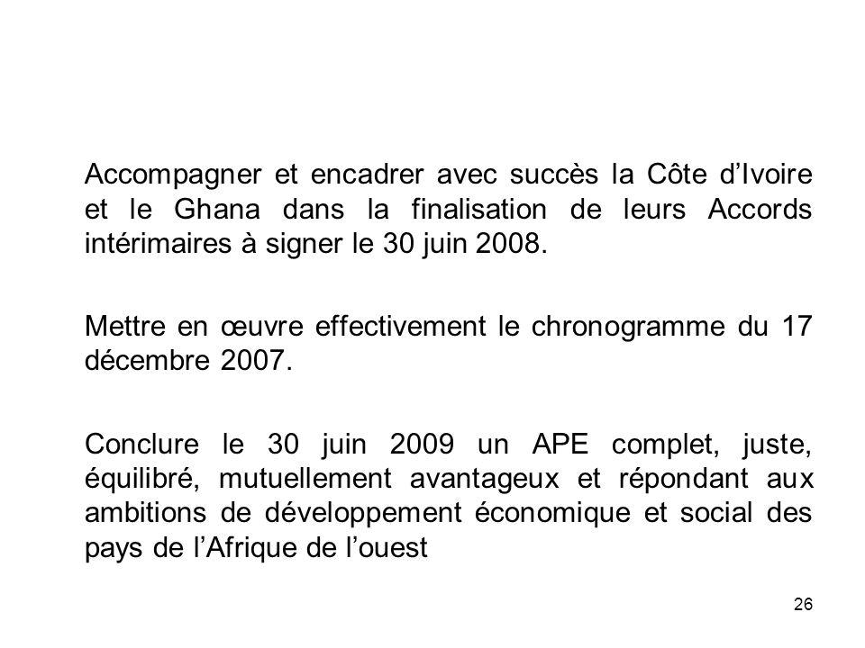 Accompagner et encadrer avec succès la Côte d'Ivoire et le Ghana dans la finalisation de leurs Accords intérimaires à signer le 30 juin 2008.