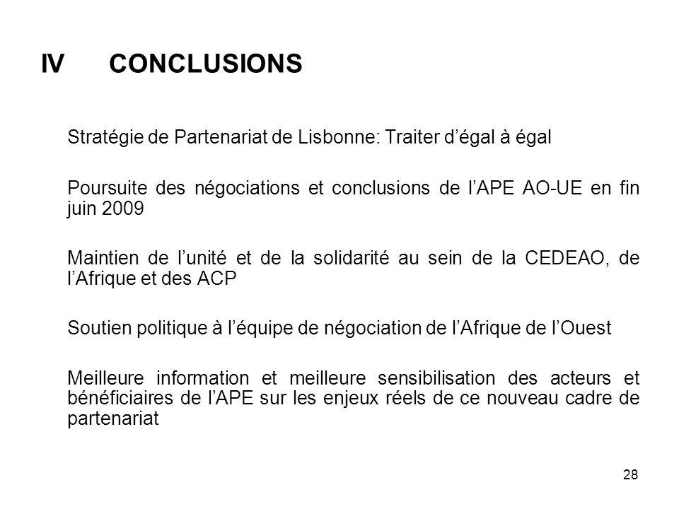 IV CONCLUSIONS Stratégie de Partenariat de Lisbonne: Traiter d'égal à égal.