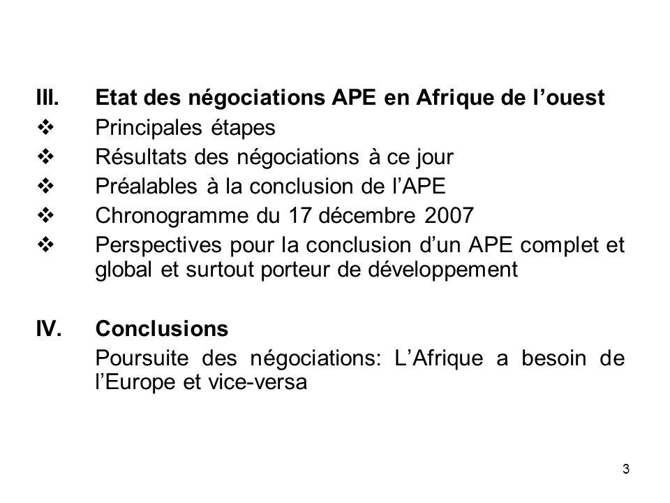 Etat des négociations APE en Afrique de l'ouest