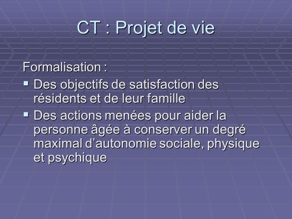 CT : Projet de vie Formalisation :