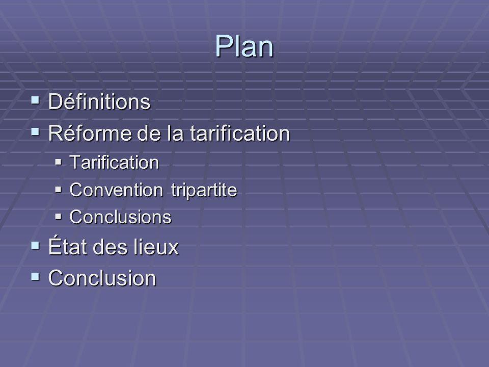 Plan Définitions Réforme de la tarification État des lieux Conclusion
