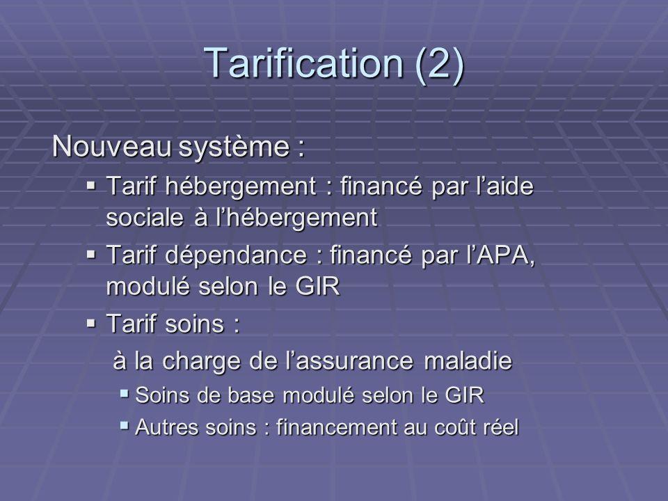 Tarification (2) Nouveau système :