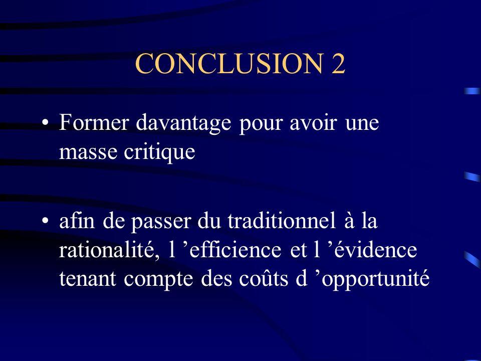 CONCLUSION 2 Former davantage pour avoir une masse critique