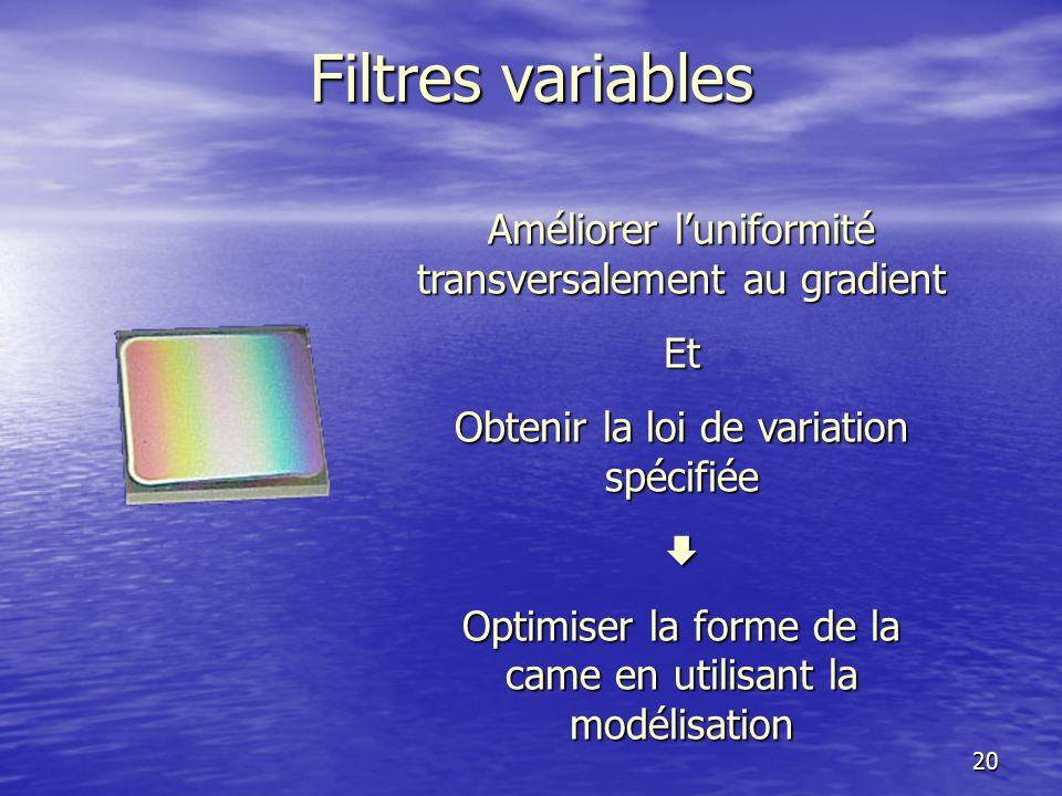 Filtres variables Améliorer l'uniformité transversalement au gradient