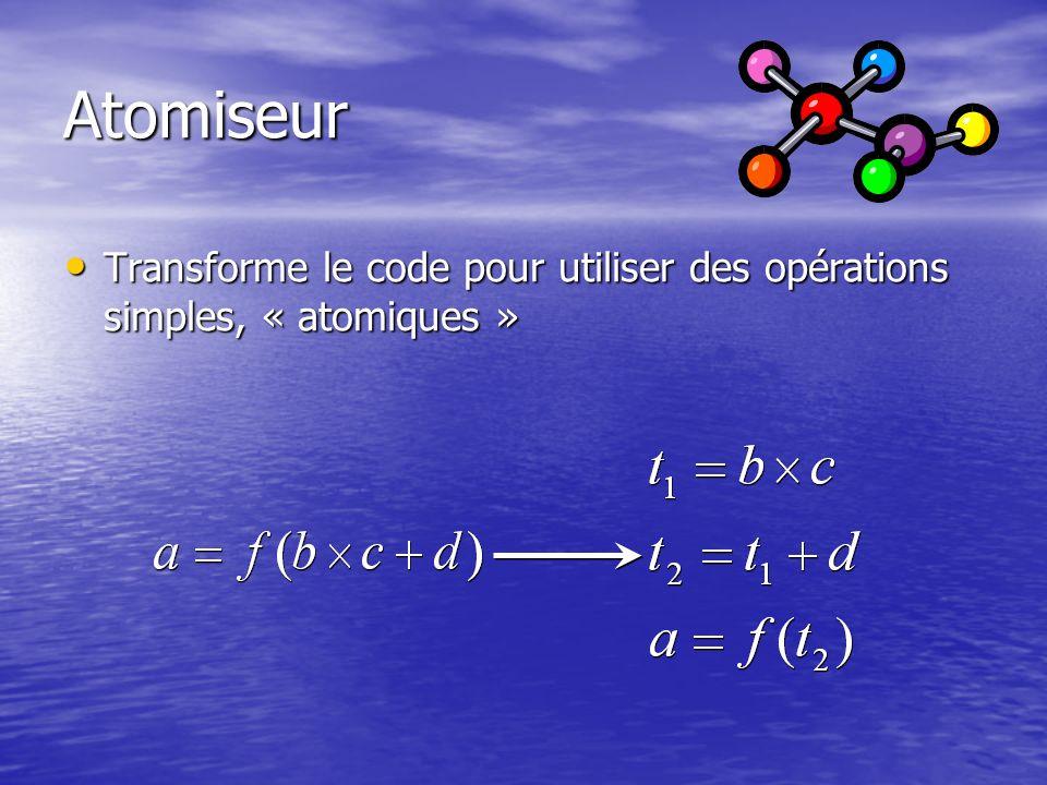 Atomiseur Transforme le code pour utiliser des opérations simples, « atomiques »