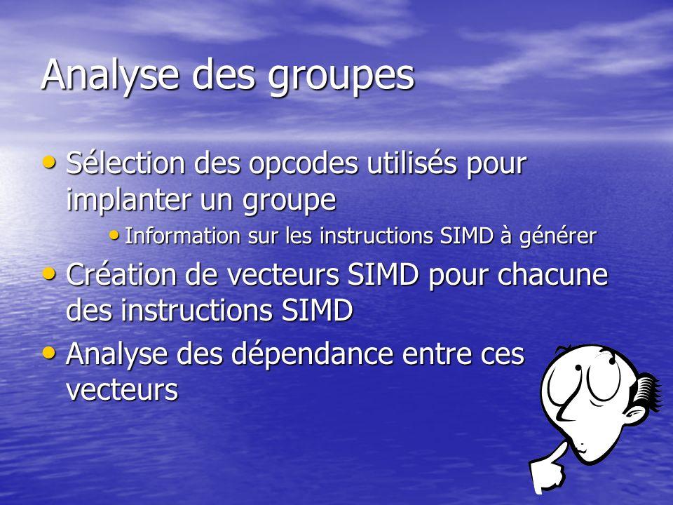 Analyse des groupes Sélection des opcodes utilisés pour implanter un groupe. Information sur les instructions SIMD à générer.